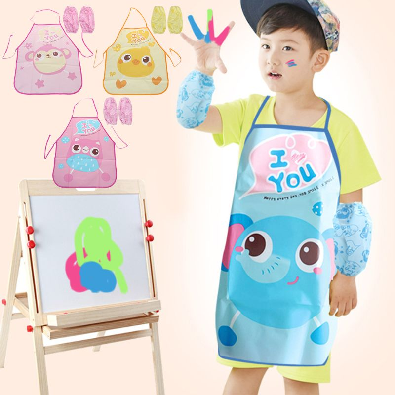 1 Set Kids Schort Mouwen Kinderen Schilderen Keuken Koken Waterdichte Bescherming Verlichten Van Reuma En Verkoudheid