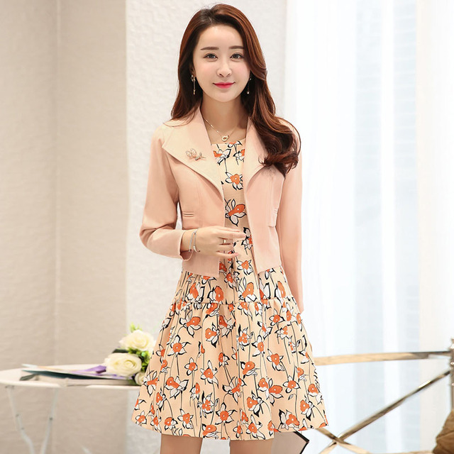 New 2017 Spring Fashion Slim Fit Jacket And High Waist Line Floral