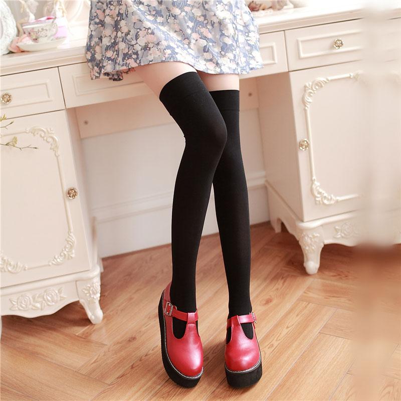 High Knee Socks Women's Thigh High White Black Stockings Black Over Knee Stockings for School Girls Ladies Long Stocking 2color