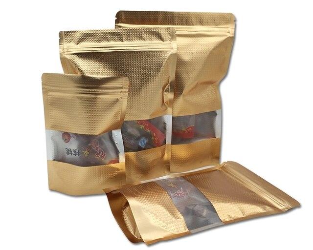 Ouro Stand Up 17*25 cm 350 Pçs/lote Doypack Ziplock Mylar Chá Saco Pacote de Linhas de Folha De Alumínio Com Janela para o Pacote de Saco De Armazenamento