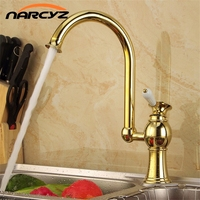 Bathroom Basin Faucets Golden Finish Swivel Kitchen Mixer Taps Single Hole Deck Mounted Sink Torneira Banheiro