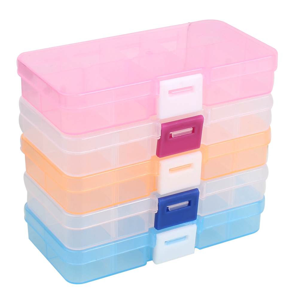 Plastic tool box case 10 cells jewelry rings craft for Craft storage boxes plastic