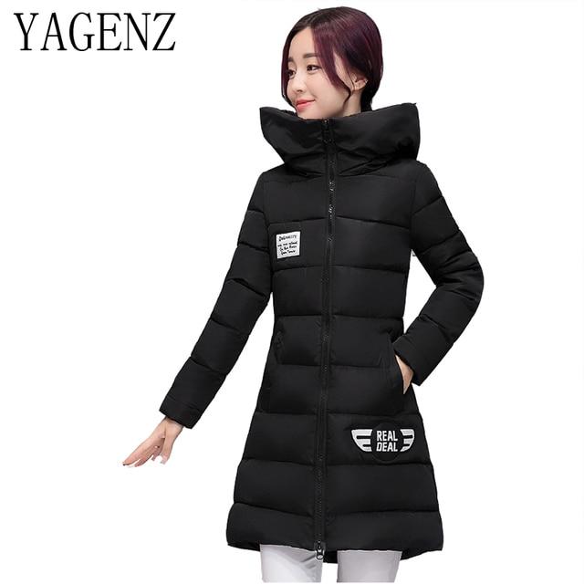 d9e91719872ab7 Inverno Abbigliamento Donna Piumino 2018 Medi lunghi Addensare caldo Cotone Giacca  Con Cappuccio di Colore Solido