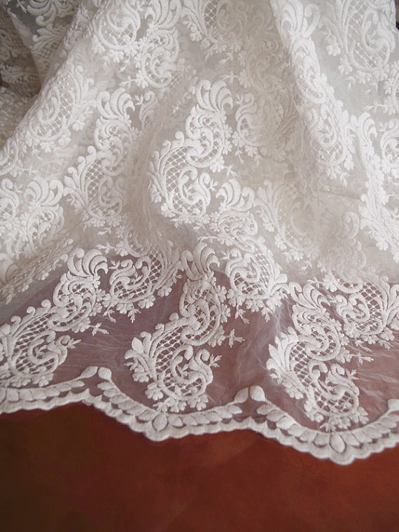 Ivory Organza Lace Fabric Off White Embroidered Lace