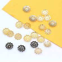 200pcs 7 9mm Silver Gold Flower Petal Beads Caps Bulk End Spacer Charms Bead For Jewelry Making Accessories DIY Supplies