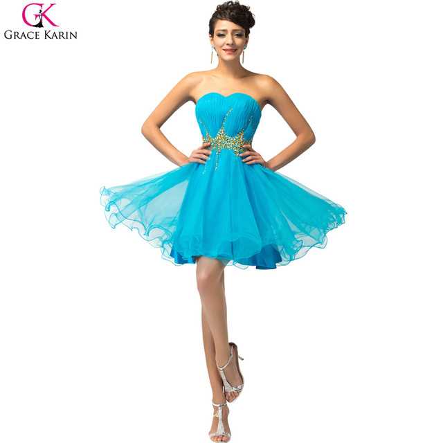 9efc9e1f7e001 Elegant Cocktail Dresses Grace Karin Blue Pink Short Cocktail Dress 2017  Robe De Cocktail Ball Gown