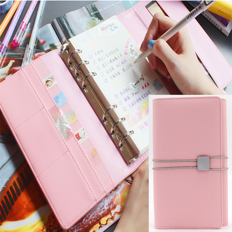 Korean Office Personal Organizer Kawaii Notebook Cute Spiral Agenda Planner Notepad Leather Foldable Binder Travel Journal A6