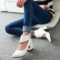 Tamaño grande 34-48 2016 Nuevas Llegadas Forman cuadrados zapatos de Tacón alto Bombea Los Zapatos de Vestido de Las Mujeres de Verano de Estilo Vintage del otoño del resorte