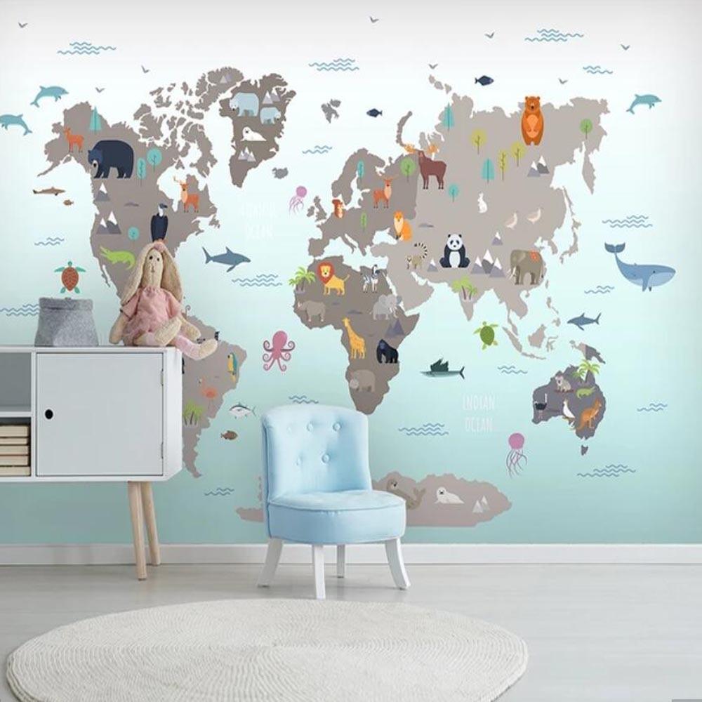 3d Carton Animal World Map Wallpaper Murals For Living Room