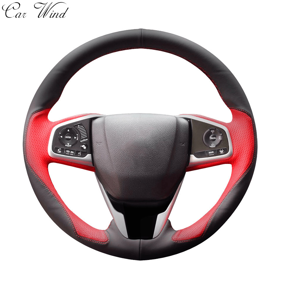 Car wind 38 CM Genuine Leather Car Steering Wheel Cover black Steering-wheel Cover For BMW VW Gol Polo Hyundai Car Accessories dermay high quality car genuine leather steering wheel cover massage m size for lada ford nissan vw skoda chevrolet etc 98% car