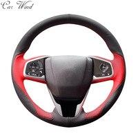 Car Wind 38 CM Genuine Leather Car Steering Wheel Cover Black Steering Wheel Cover For BMW