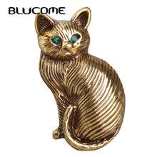 Blucome Lindo Verde Crystal Eyes Cat Broches Para Mujeres Niños cuello Sombreros de Dibujos Animados Mascota Traje Broche de Solapa de la Vendimia Broche Mujer
