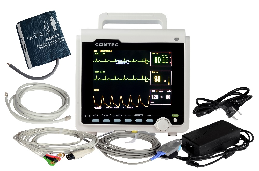 80  pic  ICU/CCU Patient Monitor 5-parameter,Electronics+NIBP+Pulse Rate+SPO2 RESP,2-TEMP,Network Medical Holter Machine CMS6000 buy holter monitor