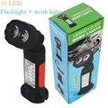 2016 multifuncional Rotativo lanterna trabalhar com adsorção Ímã gancho use 4 x Bateria AAA lâmpada de trabalho luz de emergência Ao Ar Livre