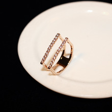 Zinc Alloy Zircon Engagement Rings For Women Ladies Rose Gold Ring Fashion Jewelry Popular Style with Shining Rhinestone Ring