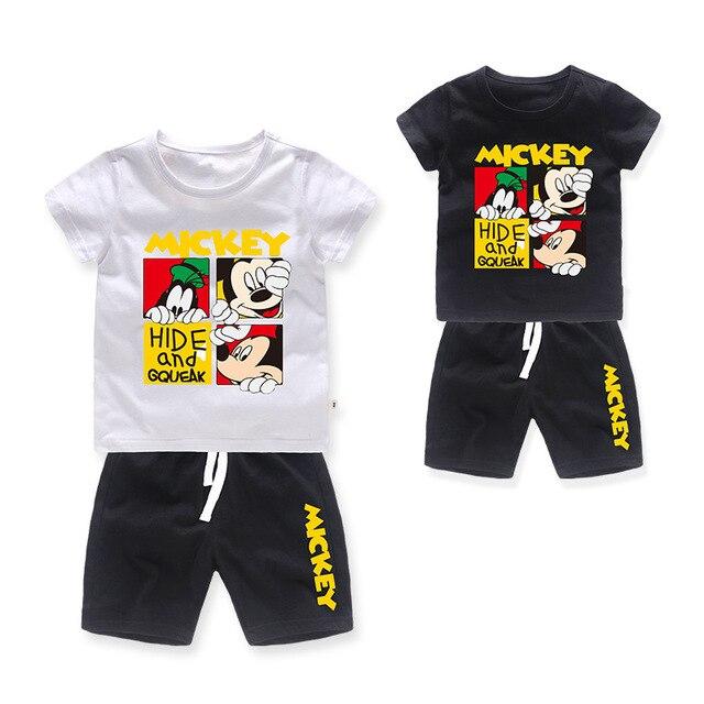 Bebê Mickey Minnie T-Shirt + Calções Define Meninos Ternos Do Esporte Crianças Conjuntos de verão de algodão Dos Desenhos Animados Crianças roupas de cor múltipla 2-8Y
