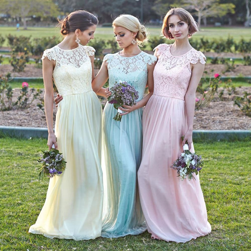 Yellow Blue Pink Grey Scoop Lace Cap Sleeve Long Chiffon Bridesmaid ...