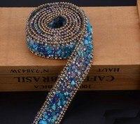 2.5 cm niebieski Kryształ wykończenia Dżetów Wedding Bridal Aplikacja Strassu Łańcucha Siatki Krystalicznej łaty dla Odzież Home Decor