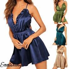 Sexy Womens Satin Lingerie Ladies Nightie Nightwear Night Dress Silk Chemise