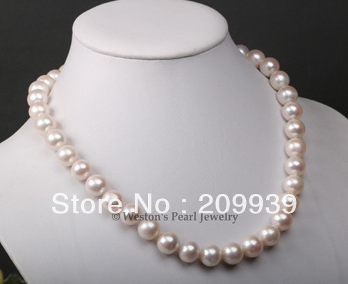 hot sell- huij 001888 RARE LARGE 10.5-11.5MM NATURAL WHITE CULTURED FRESHWATER PEARL NECKLACE SILVER -Top quality free shipping