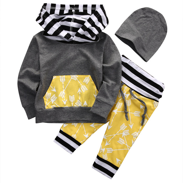 af893a2d4 Hi Hi Baby Store Toddler Kids Baby Boy Clothes Hoodie Tops Sweatshirt Pants  Hat Outfits 3PCS Cotton Set