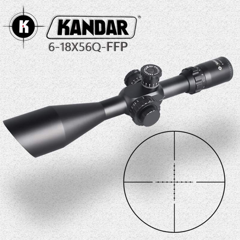 KANDAR6-18X56Q FFP Tactical Riflescope Red Green Illuminated Rifle Scope Sniper Optic Sight Hunting Scopes Rifle Air Red Dot