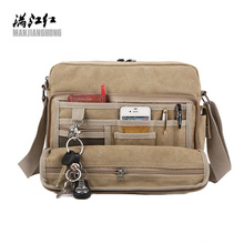 MANJIANGHONG brand men canvas bag Messenger shoulder multi-functional messenger 2017 new simple retro