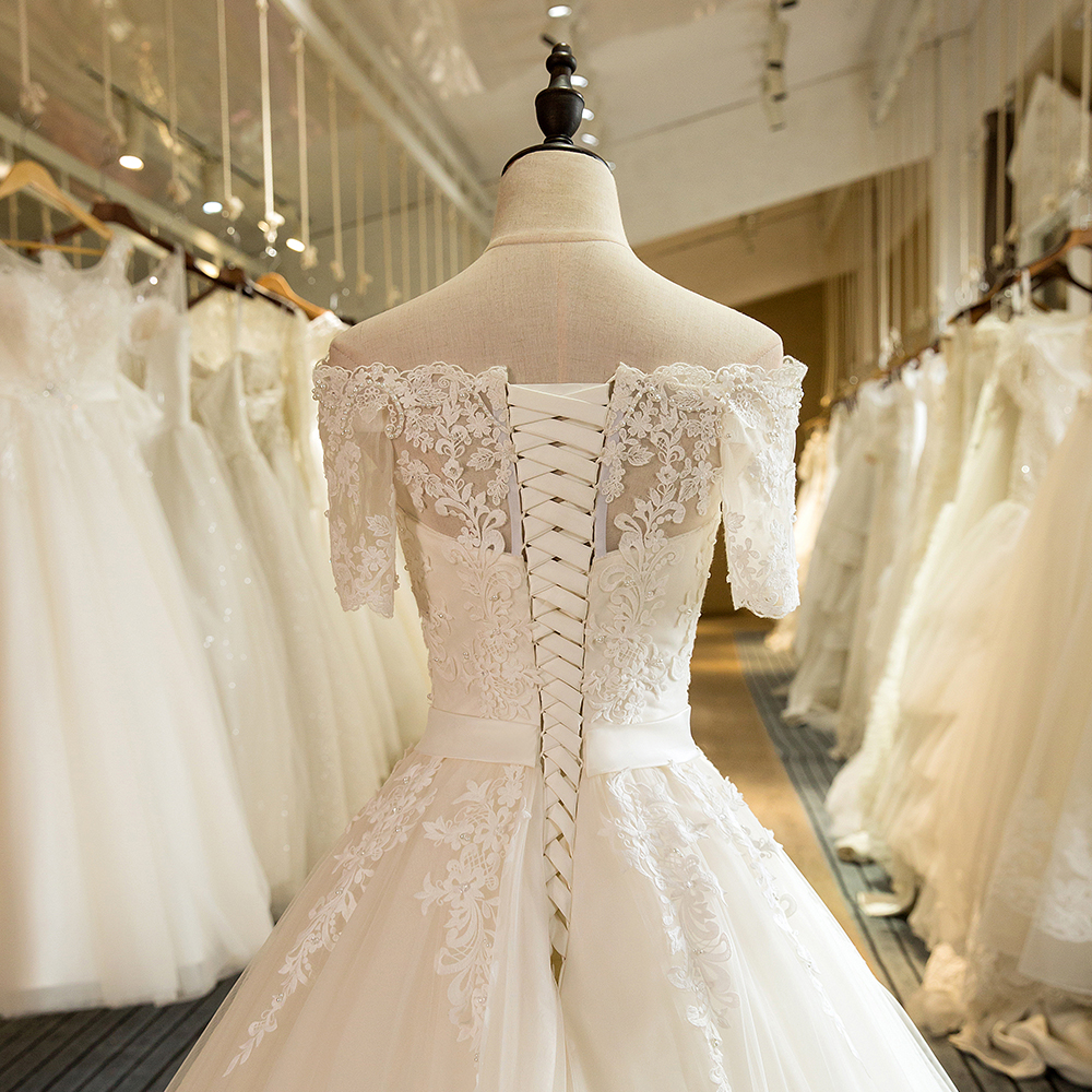 Image 5 - SL 5 Charming A Line Short Sleeve Tulle Lace Appliques Vintage Boho Wedding Dressvintage boho wedding dressboho wedding dresswedding dress -