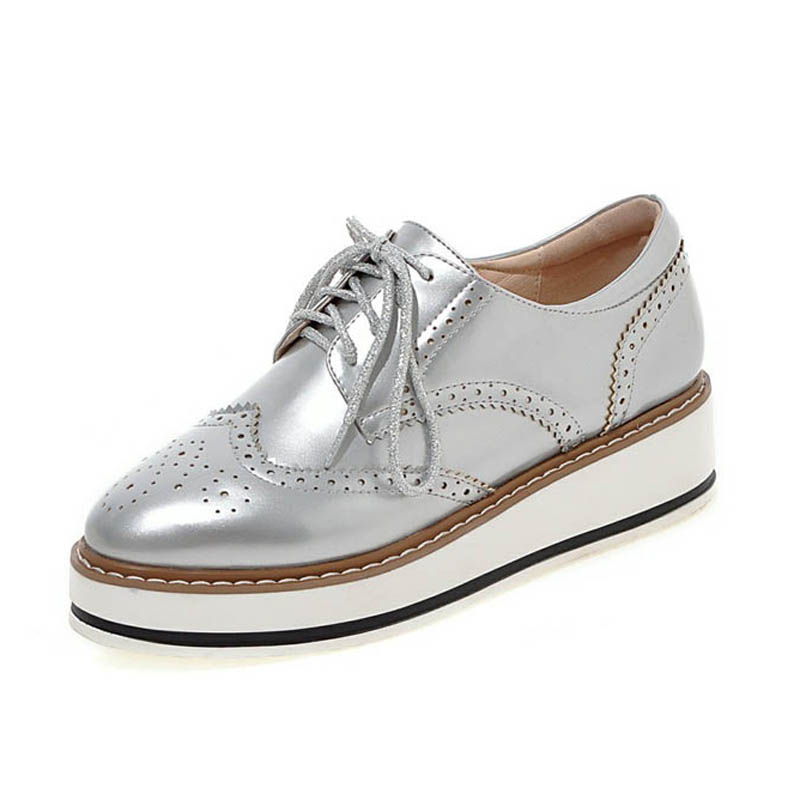 Women Brogue Oxfords Ladies Casual Platform Wedges Heel Shoes Woman Patent Leather Oxford Shoes For Women Black Red Silver White phyanic 2017 gladiator sandals gold silver shoes woman summer platform wedges glitters creepers casual women shoes phy3323