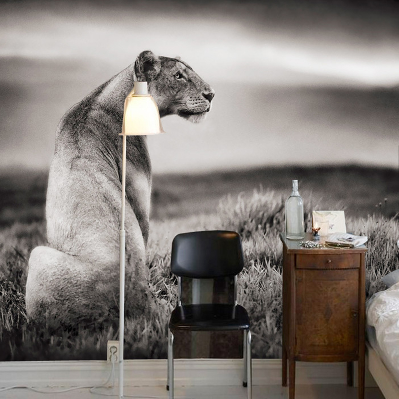 Black and White Alone Leopard Animal Papel Mural 3d Wallpaper for Bedroom Sofa Background 3d Wall Photo Murals 3d Wall Stickers