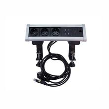 цена на 5pcs Movable Triangle Desktop Fixed Socket 3 EU Power sockets +2 USB Charger ports+1 HDMI+1 3.5 audio Configuration Customized