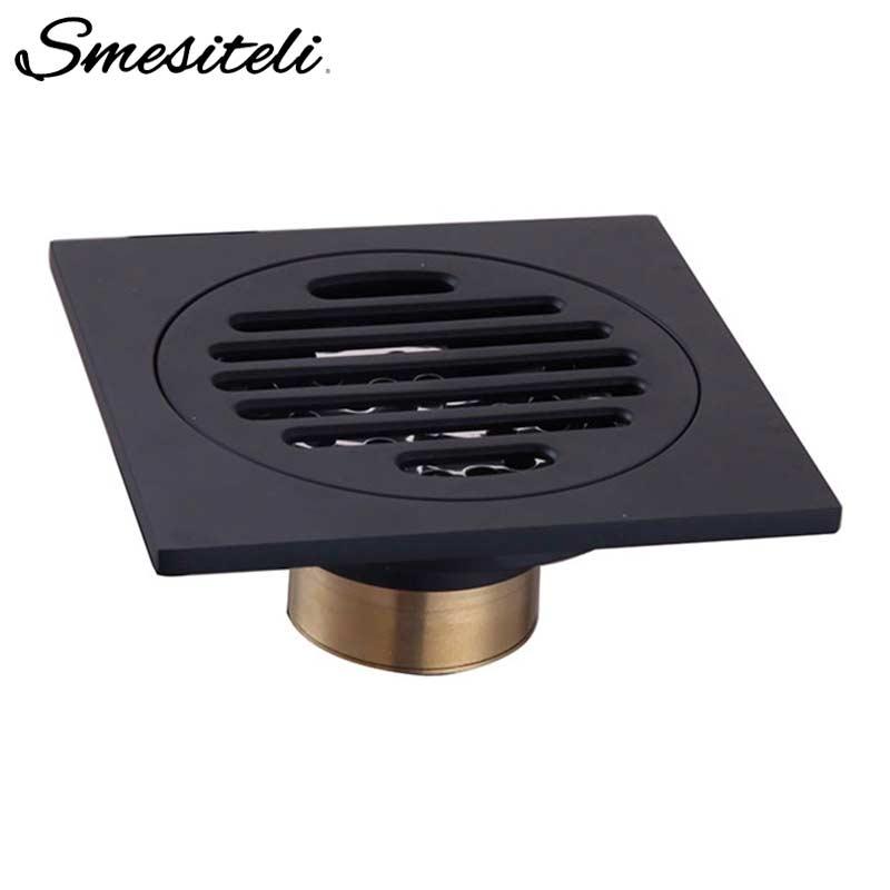 Smesiteli Drains Bathroom Sink Bathtub Accessories Brass Matte Black Square Style Floor Drainer Waste Bathroom Shower Drain