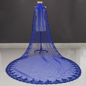 Image 3 - Yeni kraliyet mavi 3 metre Bling Sequins dantel uzun katedrali düğün duvağı renkli gelin peçe ile tarak