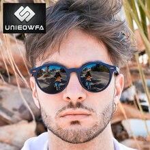 UNIEOWFA-gafas de sol redondas con remaches para hombre y mujer, lentes de sol redondas Retro polarizadas Vintage ovaladas, color negro, TR90 2019