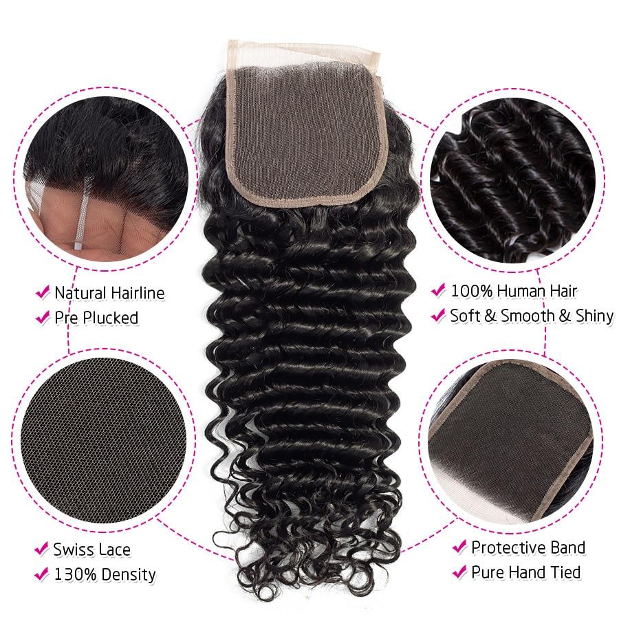 HTB1OG XXcfrK1Rjy1Xdq6yemFXa5 Princess Hair Deep Wave Bundles With Closure Double Weft Human Hair Brazilian Hair Weave 3 Bundles With Closure RemyMedium Ratio