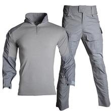 Военная форма одежды костюм мужчины носят камуфляж страйкбол футболка пейнтбол брюки Оснастки боя штурма