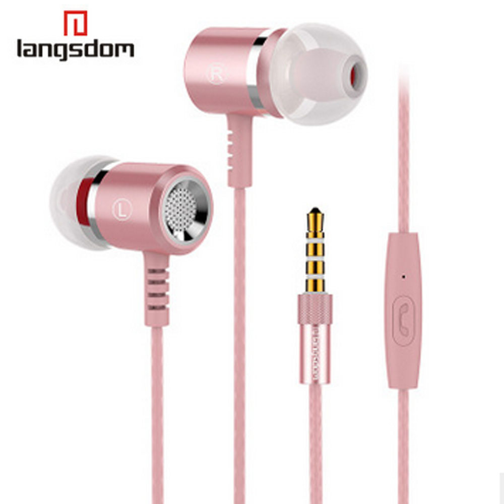 Langsdom Earphone Metal 3.5Mm Stereo Bass Earphones In Ear Mic For Phone Mobile Iphone Samsung Xiaomi Mp3 Player M400 vention vae t03 earphone 3 5mm in ear bass stereo earbud with remote mic for samsung mp3 player
