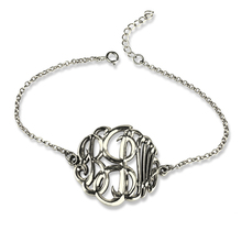 Вырезанный 3 буквы браслет с монограммой 3D монограммой цепь браслет серебро уникальное 3D Имя Ювелирные изделия лучший подарок для Монограммы Fever