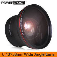58MM 0.43x Professional HD Wide Angle Lens (w/Macro Portion) for Canon EOS Rebel 77D T7i T6s T6i T6 T5i T5 T4i T3i SL2 цены