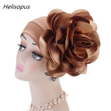3f4e164fab8 Helisopus 3D Big Flower Head Covers Women Headscarf Muslim Turbans Chemo Cap  Ladies Beanies Hair Accessories