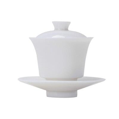Thé en porcelaine blanche Dehua Tureen thé blanc Jade fait à la main Kung FuPu'er thé vert Oolong trois bols Teaware livraison gratuite - 3