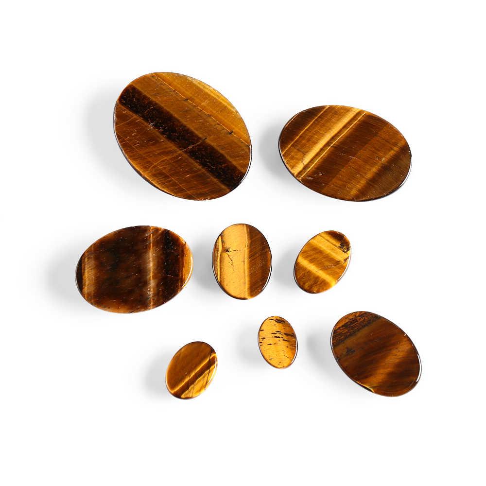 1 Pcs สีเหลือง Tiger Cabochon ลูกปัดหินธรรมชาติไม่มีรู DIY หัตถกรรมเครื่องประดับผู้หญิงแหวนผู้ชายทำ DIY อุปกรณ์เสริม