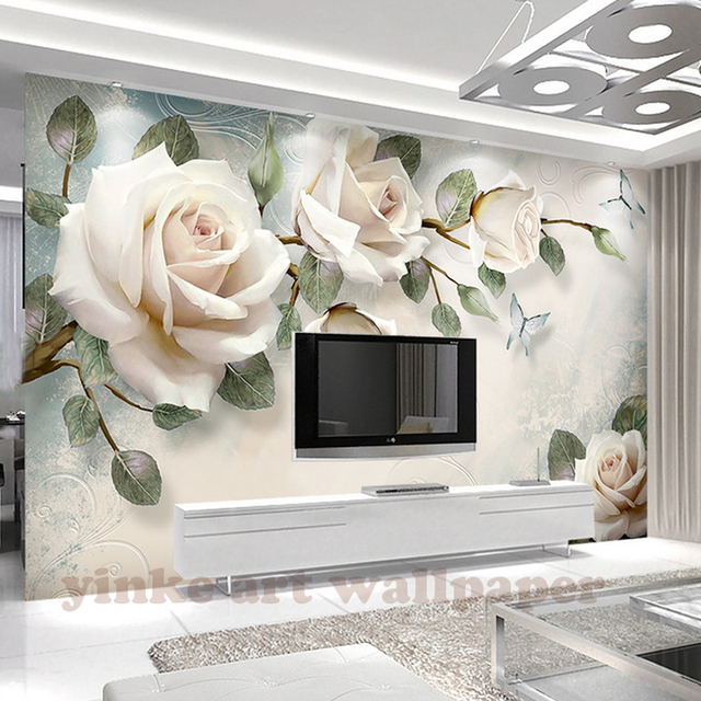 Custom Photo Wallpaper Painting 3D White Rose Flowers Wall Murals Living  Room TV Sofa Backdrop Wall