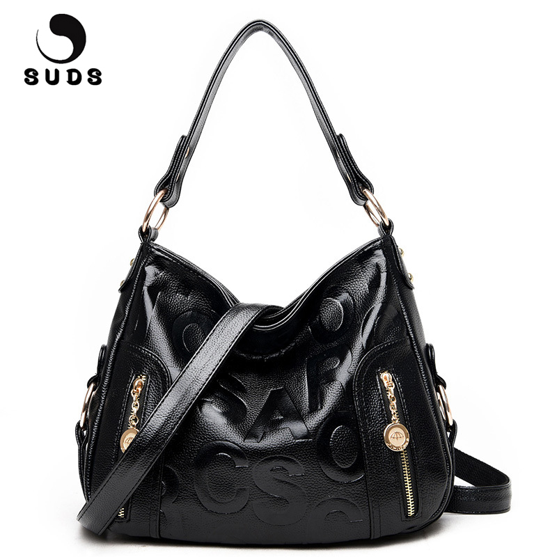 SUDS Brand Large Capacity Women PU Leather Letter Shoulder Bags Fashion Lady Designer High Quality Messenger Bags Crossbody Bags