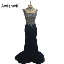 2018 Cap Sleeve Crystal Beadings Chiffon Evening Dresses Long Banquet Formal Evening Gowns Mermaid Robe De Soiree Serene