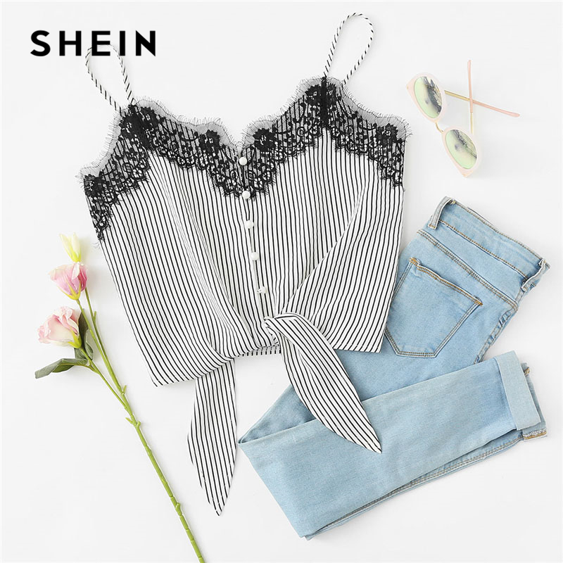 35cf1e1be9f723 SHEIN Lace Knot Front Striped Cami Top Women New Asymmetrical Spaghetti  Strap Button Crop Top Vest 2018 Summer Sexy Vest-in Camis from Women's  Clothing on ...