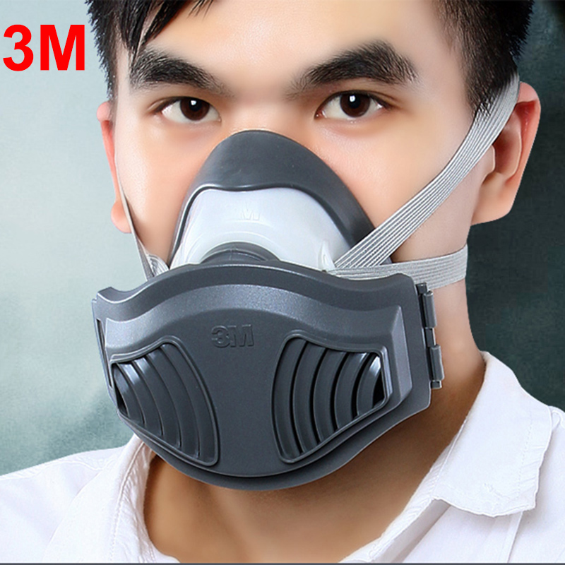 3M 1211+10pcs 1701 Filter cotton Half Face Dust Mask Anti industrial Conatruction Dust Pollen Haze Poison Safety Protective Mask muñeco buffon