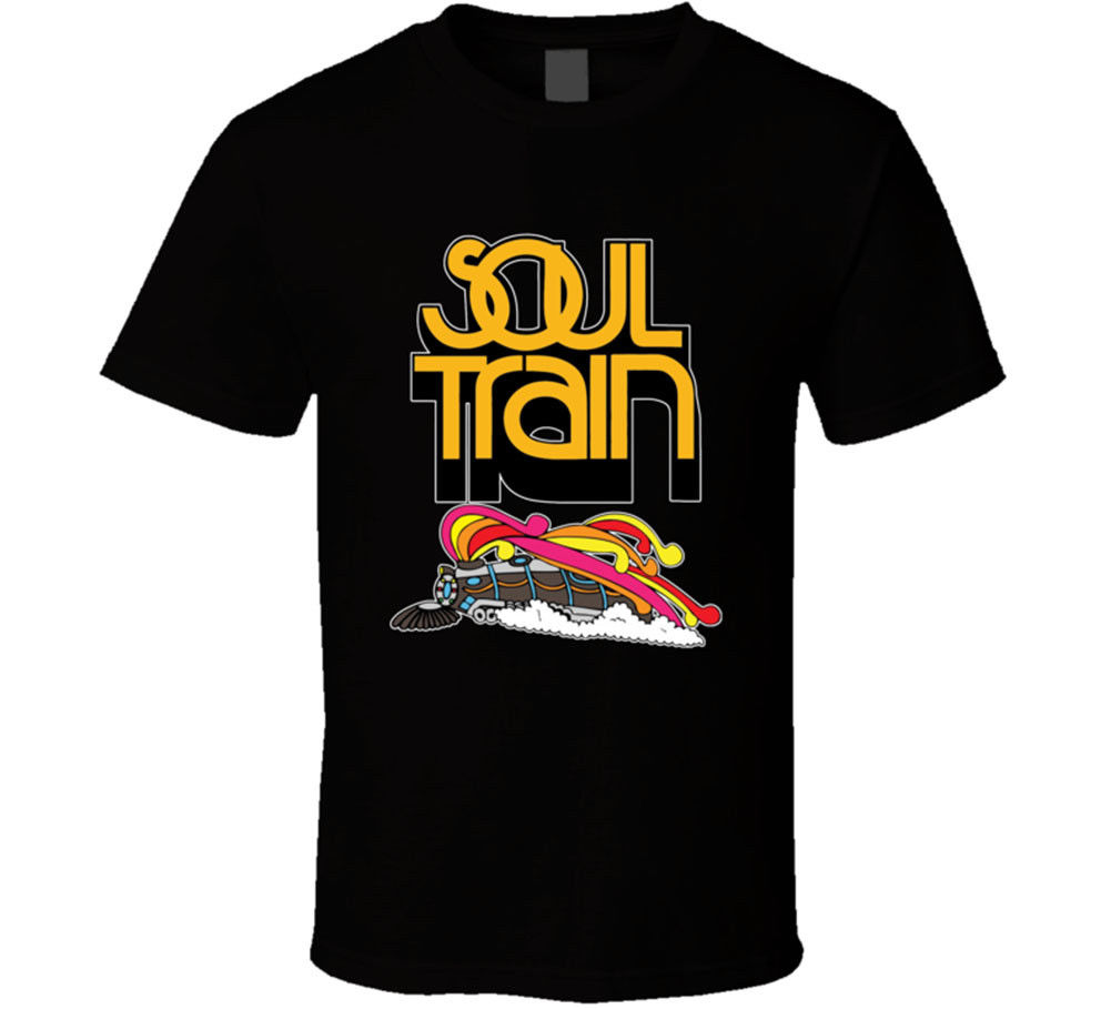 Best Soul Train T Shirt Men's Black Classic Shows Retro 60s 70s 80s Music New Simple Short-Sleeved Cotton T-Shirt Top Tee image