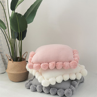 Fashion White Polyester Knitting Cushion Cover with Ball Solid Color Handmade Cushions for Sofa Bed Home Decorative Pillow Case