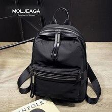 MOLJEAGA Brand New Прибытие Нейлон и кожа рюкзак роскошные рюкзаки большой емкости высокое качество женщин сумка письмо рюкзаки Bolsas